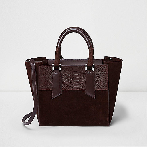 Burgundy leather mini tote bag
