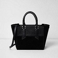 Black leather mini tote bag