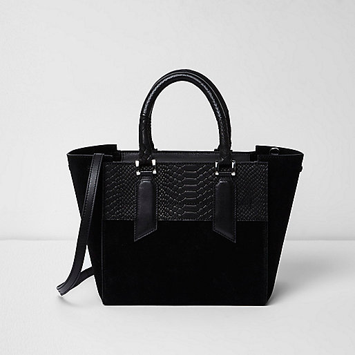 Black leather mini tote bag