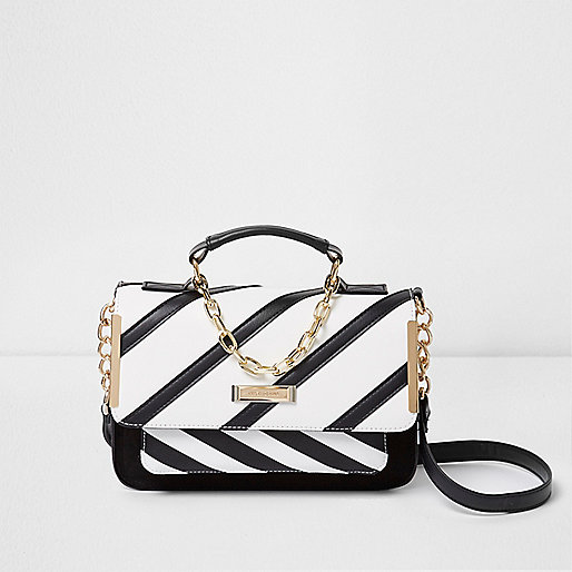 White stripe mini cross body satchel bag