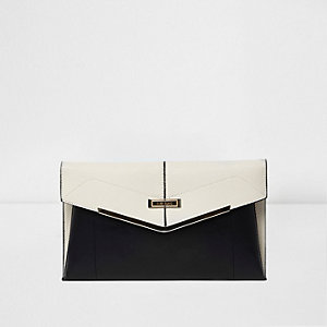 Black and cream foldover envelope clutch bag