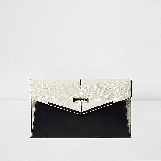 Black and cream foldover envelope clutch bag
