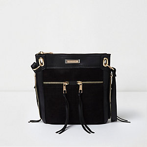 Zwarte mini-messengertas met rits voor