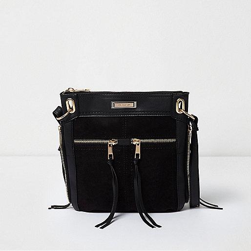 Mini besace noire zippée sur le devant