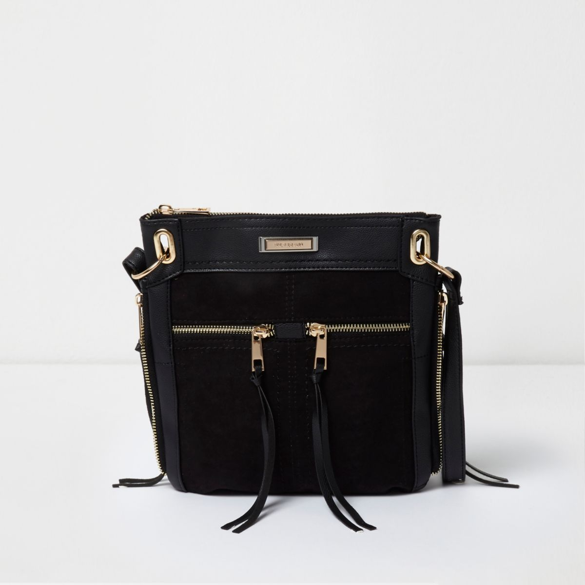 Black zip front mini messenger bag