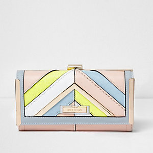 Pink multicoloured pastel clip top purse