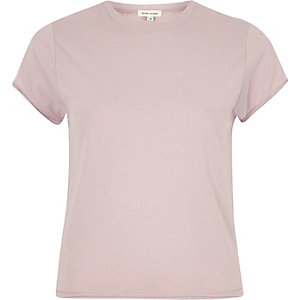 Light purple fitted crew neck T-shirt