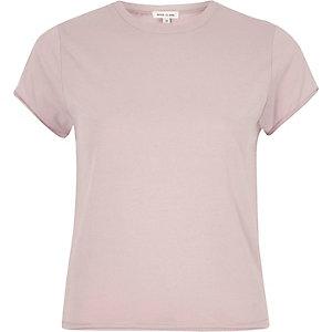 Lichtpaars aansluitend T-shirt met ronde hals