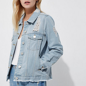 Petite blue ripped denim jacket