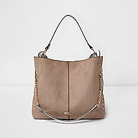Beige stud slouch chain bag