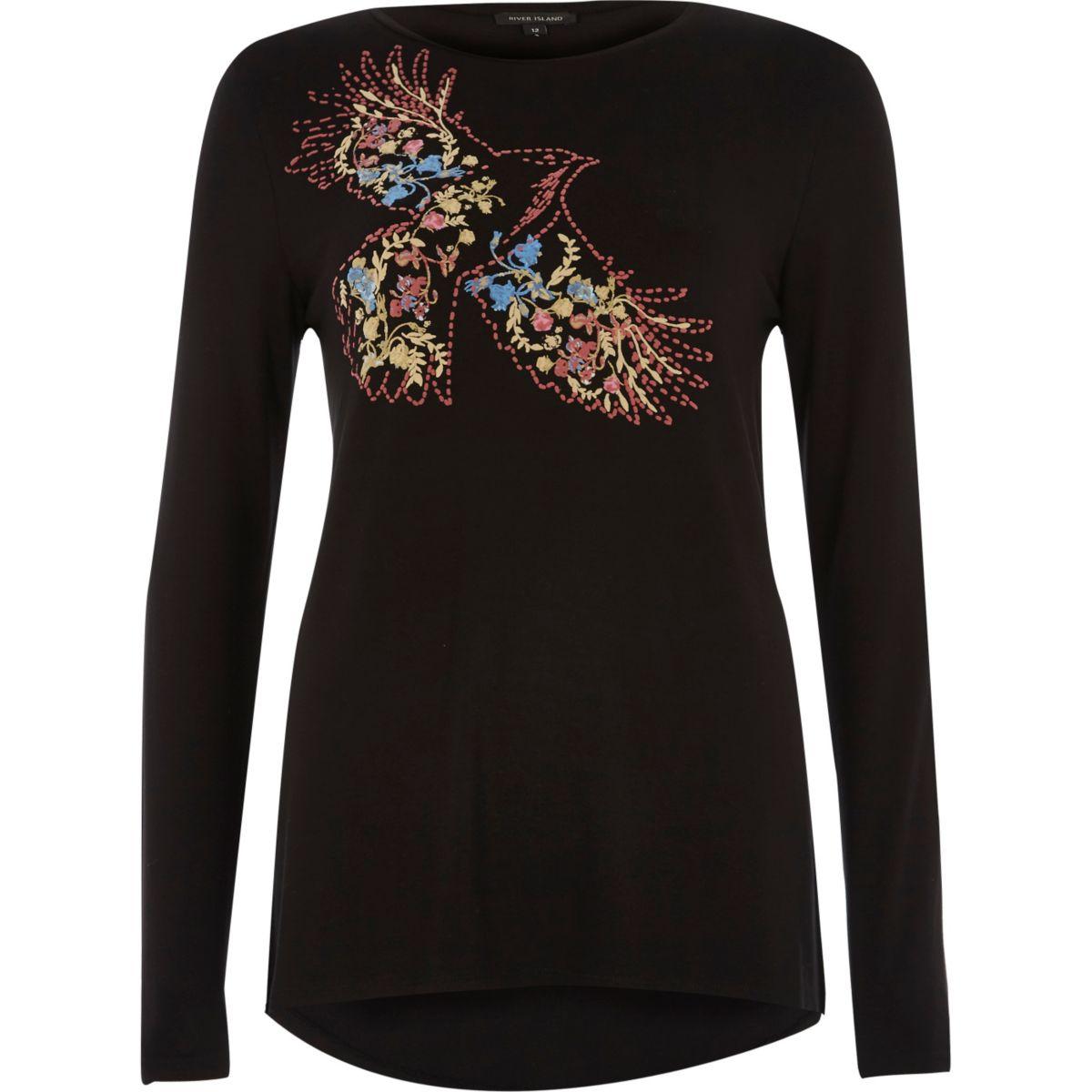Schwarzes, langärmliges T-Shirt mit Vogelmuster
