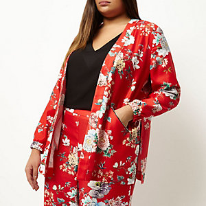 Plus red floral print zip detail jacket