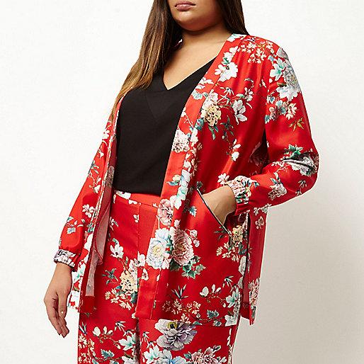 Veste Plus imprimé fleuri rouge à détail zippé