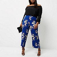 Pantalon palazzo Plus à imprimé fleurs bleu
