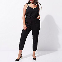 Plus black shoulder tie cami top