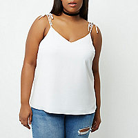 Plus white tie strap cami top