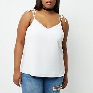 RI Plus - witte camitop met strikjes op de schouders