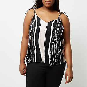 Plus black chain print cami top