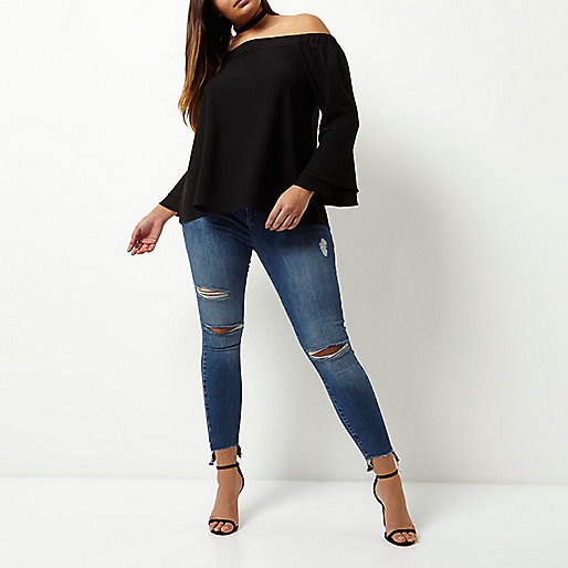 Plus black bardot flared sleeve top