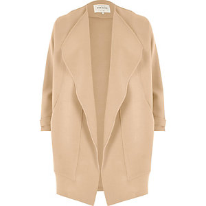 Beige wide lapel open jacket
