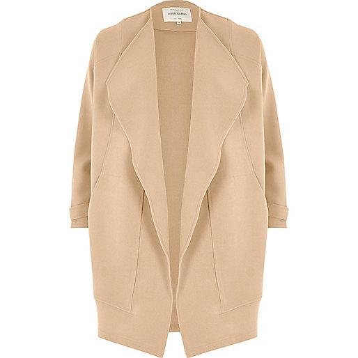 Beige wide lapel open jacket