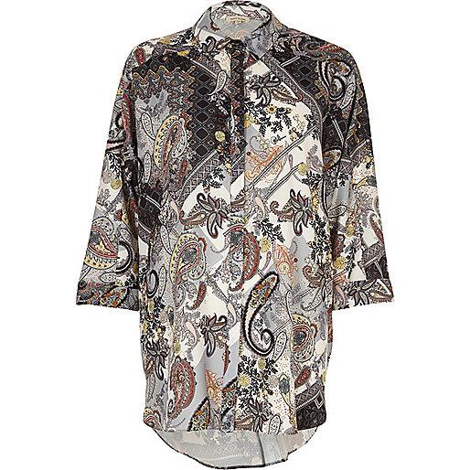 White and grey paisley print shirt