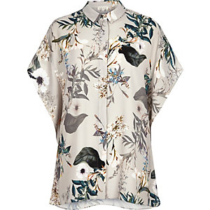 Grey floral print batwing shirt
