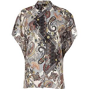 Grey paisley print batwing shirt