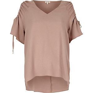 Blush pink cold shoulder drawstring top