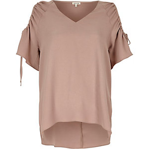 Blush pink cold shoulder drawstring top