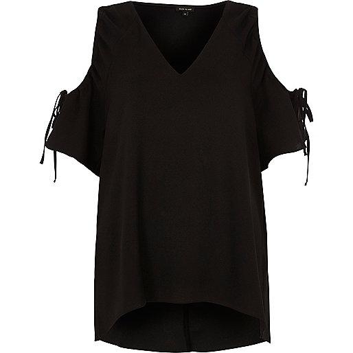 Black cold shoulder drawstring top