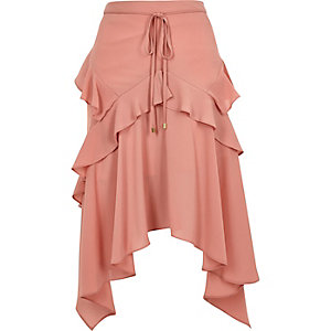 Pink frill front layered midi skirt