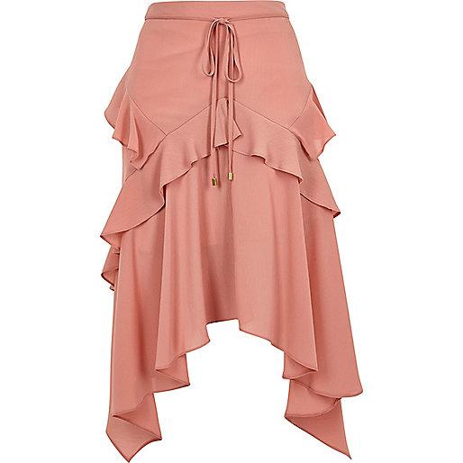 Pink frill front layered midi skirt