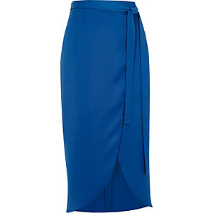 Blue high shine wrap midi skirt