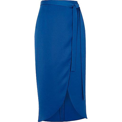 Jupe mi-longue potefeuille bleue ultra brillante