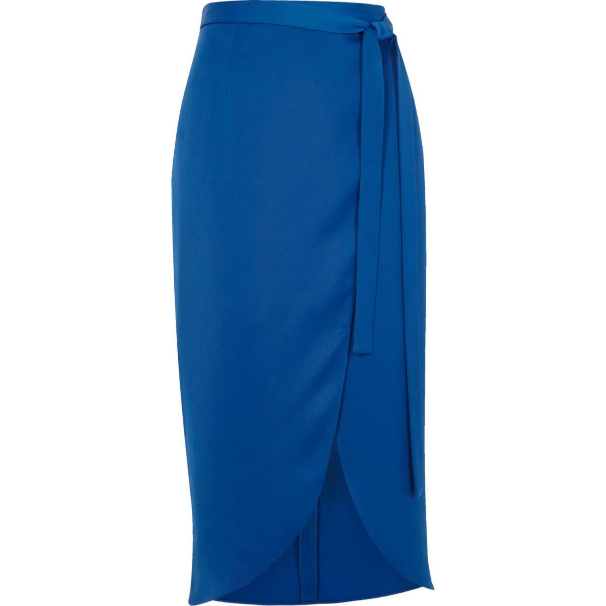Blue high shine wrap midi skirt