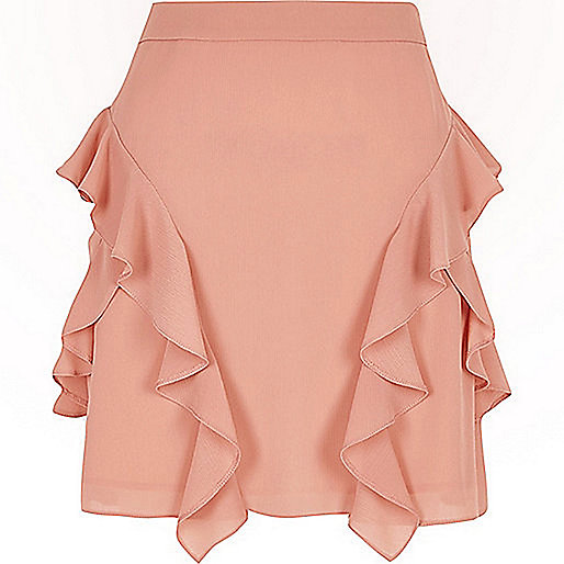 Pink chiffon frill A-line mini skirt