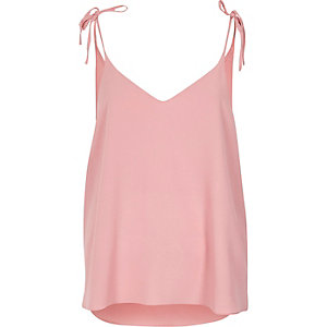 Pink bow shoulder cami top