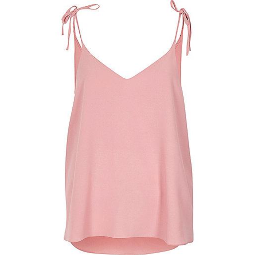 Pink bow shoulder cami top