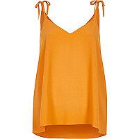 Caraco orange à épaules nouées