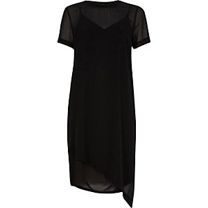 Black sheer asymmetric hem T-shirt dress