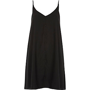 Black button detail slip dress