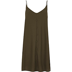 Khaki button detail slip dress