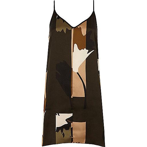 Brown camo print slip dress