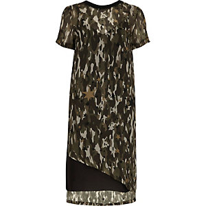 Khaki sheer camo asymmetric hem T-shirt dress