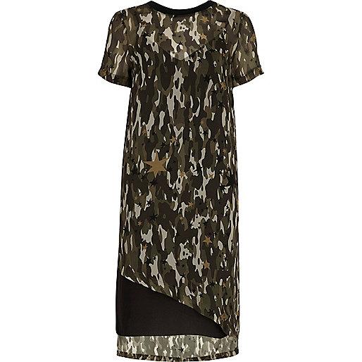 Khaki sheer camo asymmetric hem T-shirt dress