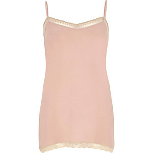 Pink lace detail cami top