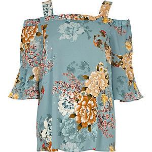 Blaues Bardot-Oberteil mit Blumenmuster