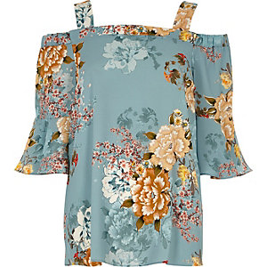 Blue floral print bardot top