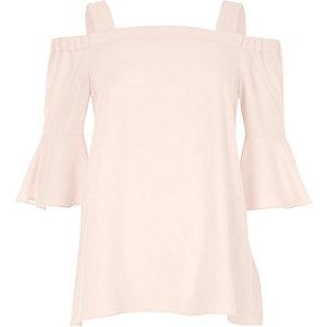 Pinkes Bardot-Oberteil mit Glockenärmeln
